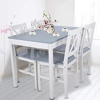 Ejoyous Juego de Mesa de Comedor de Madera con 4 sillas Juego de Silla de Mesa Simple y Moderna para Cocina de Sala de Es...