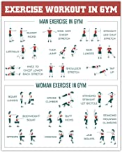 "HPNIUB Work Out Art Print, Fitness Chart Wall Art Set of 1(16""X20""), Bodybuilding Guide Canvas Poster for Home Gym,Trainin..."