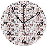 77 xiochgzish Reloj de Pared, Londres de 10 Pulgadas, boceto de Arte, colección Cultural británica del país en Estilo Doodle Reloj de Escritorio silencioso para el hogar y la Oficina