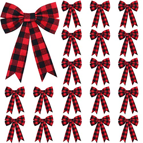 WILLBOND 20 Pieces Christmas Plaid Bows Red and Black Buffalo Check Bows Holiday Decorative Bows for Xmas Tree Home Decor, 5 x 7 Inch