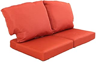 Martha Stewart Living Charlottetown Quarry Red Replacement Outdoor Loveseat Cushion