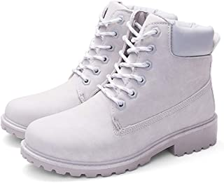 Women Faux Leather Combat Ankle Boots Warm Lined Low Heel Anti-Slip Casual Lace Up Short Bootie