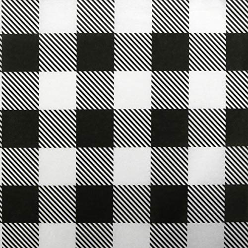 Iconikal Tissue Paper, 20 x 20-inches, White Buffalo Plaid, 60-Sheets
