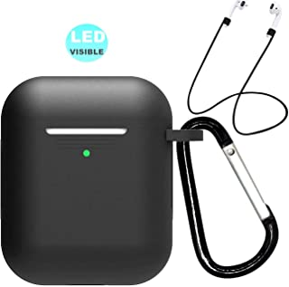 Compatible AirPods 2 Wireless Charging Case with AirPods 2 Staps Keychain, (Front LED Visible) Protective Cover Silicone Compatible with Apple AirPods2 Wireless Charging Case -Black