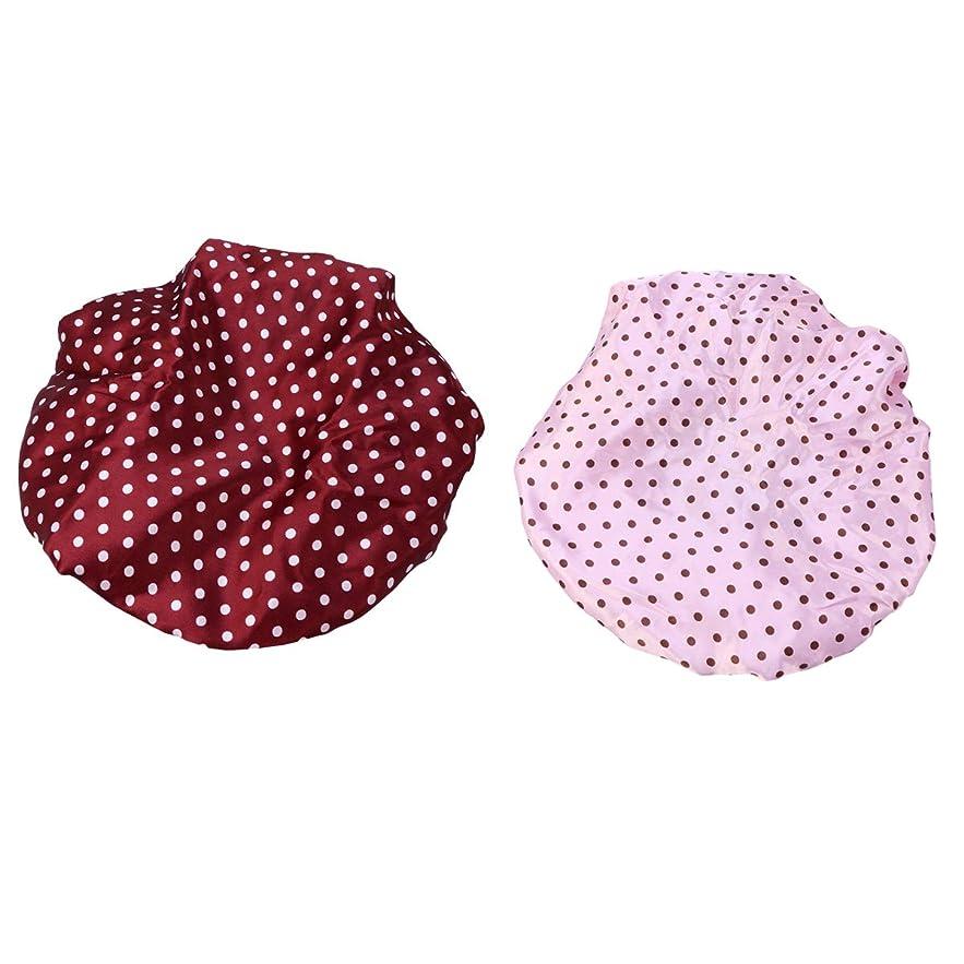 ラリーベルモントたっぷりより多いHealifty シャワーキャップ防水水着帽子2PCS