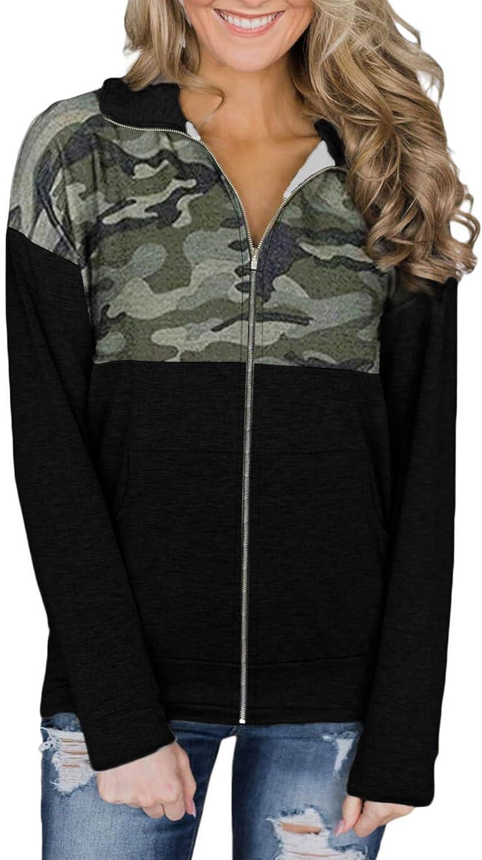 Actloe Womens Outerwear Casual Long Sleeve Zip-Up Hoodie Jacket Camouflage Sweatshirt Coat