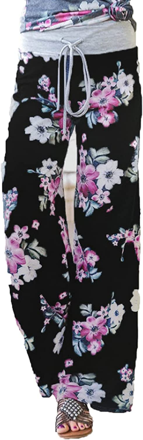 Women's Printed Wide-Leg Pants Comfy Stretch Floral Print Drawstring Lounge Trousers Casual Stretchy Casualpants (3X-Large,Black 1)