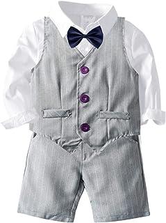 Rehomy Ragazzo Gentleman Abiti Ragazzo Papillon Camicia Gilet Pantaloni Lunghi Bambino Gentleman Gilet Abiti