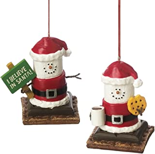 Christmas Ornaments- S'mores with Cookie and Milk and I Believe in Santa Sign Set of 2