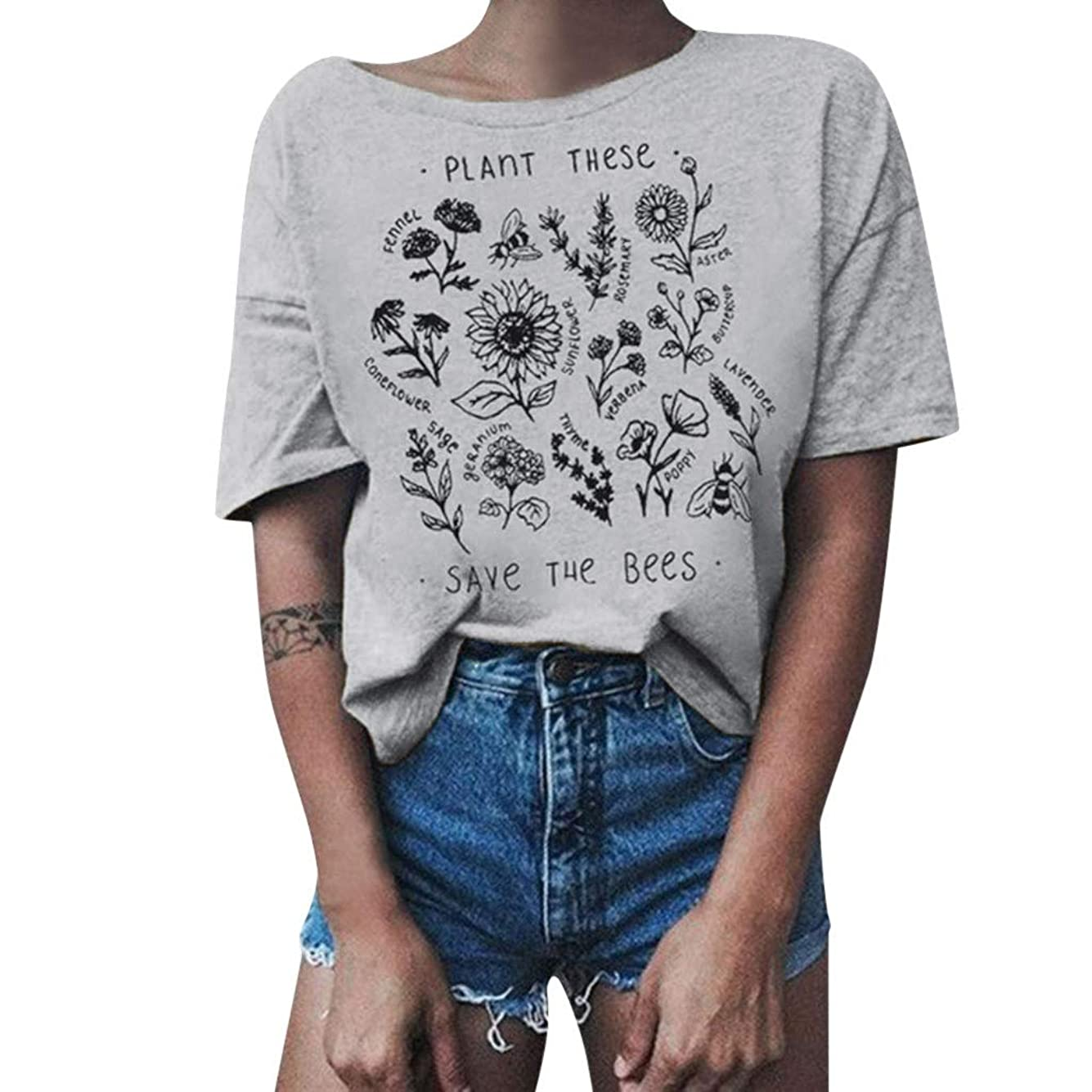 お香エキサイティング待ってTシャツ レディース 半袖 おおきいサイズ ビンテージ 花柄 ラウンドネック ビジネス 学生 洋服 お出かけ ワイシャツ 流行り ブラウス 軽い 柔らかい かっこいい カジュアル シンプル オシャレ 春夏 対応 可愛い 欧米風 日韓風