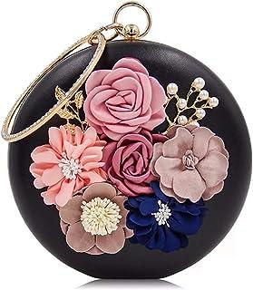 Hebezon Mishrit Girl's Handicraft Beautiful Flower Round Clutch (Black)