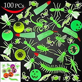 JOYIN 120 Pieces Halloween Glow in The Dark Bugs and Toys Glow Bugs, Plastic Bugs, Glow Bug Rings , Glow Bouncy Balls and ...