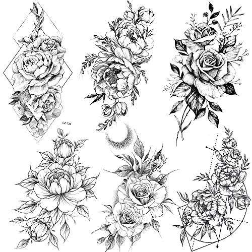 COKTAK 6 Pieces/Lot 3D Realistic Large Black Rose Flower Temporary Tattoos For Women Body Art Arm Big Peony Geometric Tattoo Stickers Adults Fake Waterproof Tatoo Legs Sketch Sexy Girl Peach Lily