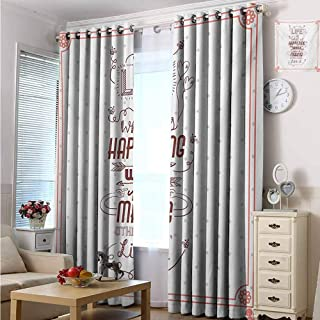 hengshu Quotes 99% Blackout Curtains Life is What is Happening While Youre Making Other Plans. Live it Attitude Art for Bedroom Kindergarten Living Room W72 x L84 Inch Peach Ruby