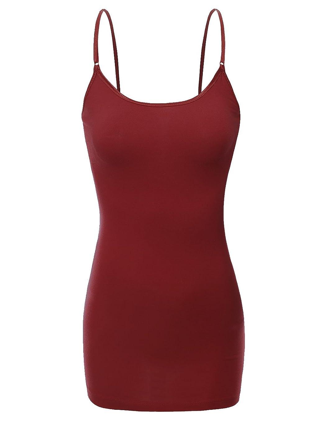 Bozzolo Women's Ladies Adjustable Spaghetti Strap Basic Long Cami Tunic Tank Top