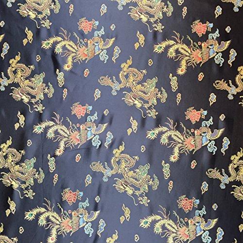 Schwarz 114,3cm breit geflochten Chinesischer Drache Brokat Kleid Stoff–Meterware