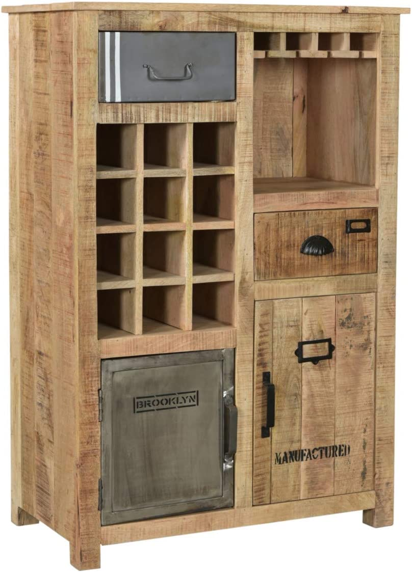 Woodkings® Highboard Pune Holz Natur braun Mango massiv rustikal  Hochkommode Design Weinschrank Weinregal Holzmöbel