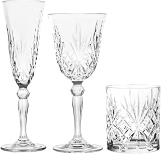 RCR 735112 Melodia - Juego de 12 copas y 6 vasos, cristal,