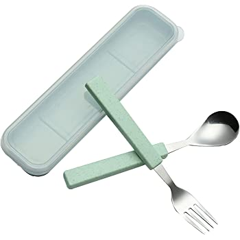 VANRA Juego de cubiertos para niños de 2 piezas Juego de cubiertos 18/10 de acero inoxidable Juego de cubiertos de plata cubertería Juego de tenedores para cucharas con estuche de viaje (Verde):