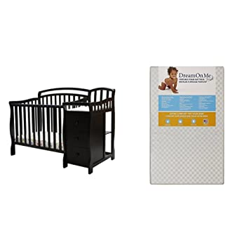 Amazon Com Dream On Me Casco 4 In 1 Mini Crib And Dressing Table Combo With Dream On Me 3 Portable Crib Mattress White Baby