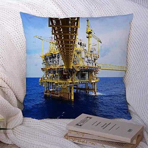 N\A Fundas Decorativas de Cojines para sofá Cama Sofá Plataforma de construcción Costa afuera Natural Producción Petróleo Gas Tecnología Industrial Industria Petróleo Funda de cojín Suave