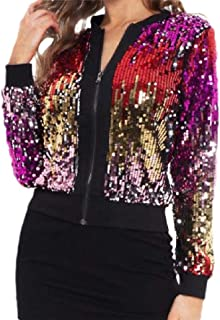 Howely Womens Zip Long Sleeve Sequin Glitter Trendy Casual Parka Jackets