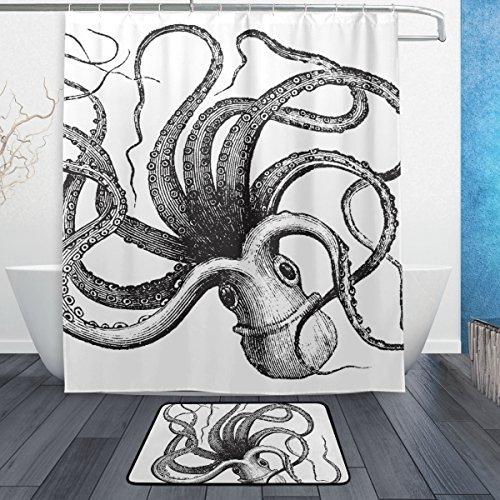 jstel Octopus schwarz & weiß 3-teiliges Badezimmer Set, maschinenwaschbar für den täglichen Gebrauch, inkl. 152,4x 182,9cm Wasserdicht Duschvorhang, 12Dusche Haken & 1anti-Teppich Carpet–Set