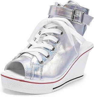 1ce7d3bdca9dd4 Sokaly Femme Sandales Eté Chaussure Compensées Plateforme Chaussure de  Tennis Casuel Fashion Imprimé Leopard Haute Talon