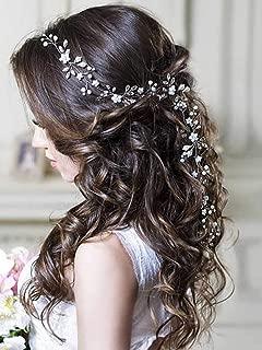 Unicra Silver Wedding Crystal Flower Hair Vine Bridal Headpiece Headbands Wedding Hair Accessories for Brides