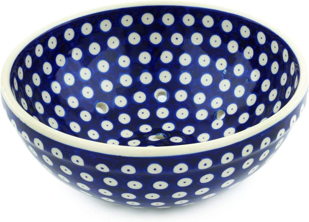Sale SALE% OFF BRT-Style Max 50% OFF Polish pottery 8вѕ-inch blue peac eyed colander