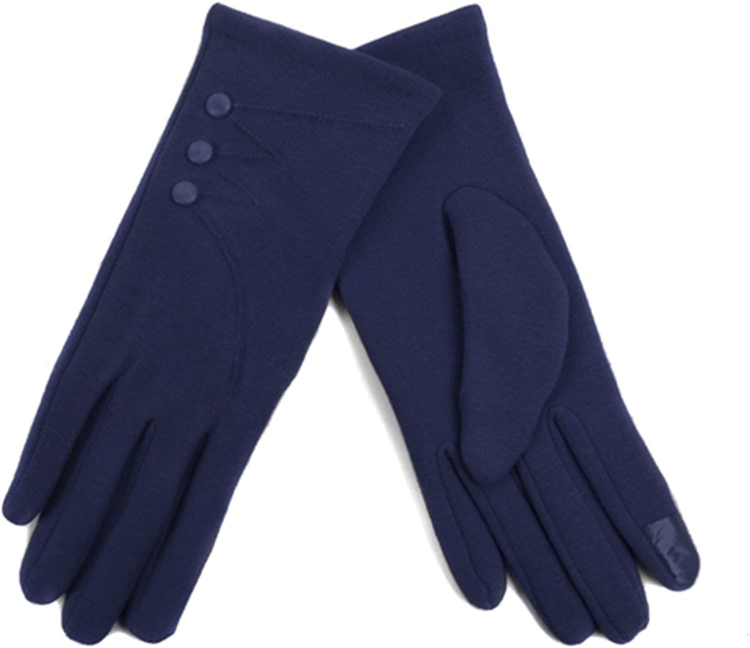 Women's Navy Blue Stylish Touch Screen Gloves with Button Accent & Fleece Lining SM