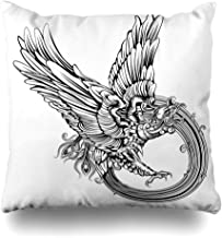 Ahawoso Throw Pillow Cover Rebirth Tattoo Original Legendary Phoenix Bird Eagle Carved Tatoo Vintage Tribal Wing Rising Design Decorative Pillow Case Home Decor Square Size 18x18 Inches Pillowcase