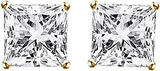 Orecchini a perno in oro bianco 14ct 585 con zirconia cubica bianca taglio principessa (0,50 cttw)