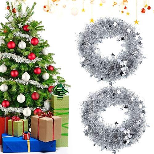 Sunshine smile 2 PCSWeihnachten Lametta Girlande,2 M Metallische Girlanden,Glänzend Weihnachtsbaum Ornamente,Weihnachten Lametta,Weihnachten Girlande Metallisch,Festliches Weihnachten Lametta(Beige)