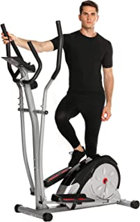 Elliptical Machine Trainer Magnetic Smooth Quiet Driven with LCD Monitor and Pulse Rate Grips, Top Levels Elliptical Trainer for Home Use