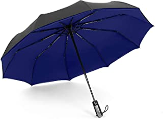 Folding Fully automatic Umbrella Rain Men Auto 10K Parasol Big Windproof Umbrellas Rain for Men Black Coating,navy blue