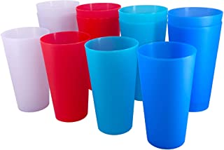Reusable 32-ounce Cups set, BPA Free Plastic Tumblers Dishwasher Safe 4 Assorted Colors Drinking Cups set of 12 Indoor Out...