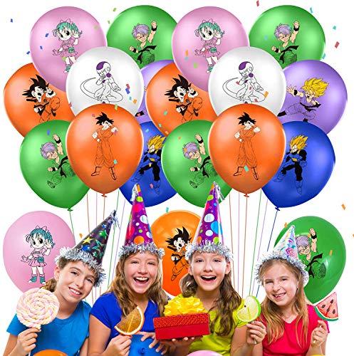 Qemsele Globos para Fiestas de Niños, 50Pcs Globos Fiesta Cumpleaños Decoración Dibujos Animados 12inch Globos de Latex con Confeti Dentro y Cintas, para Favores Regalo Carnaval Boda(Dragonball)
