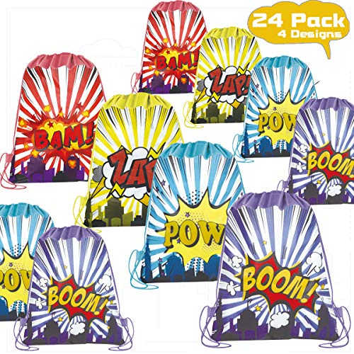 POKONBOY 24 Pack Kids Party Favors Drawstring Bags for Boys Party Supplies - Reusable Party Bags for Boys Girls Kids Birthday Party Supplies