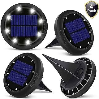 BAKIYA Warm White 8 LED Disk Waterproof Solar Ground Pathway Deck Lights Automatic (4,  Warm White)