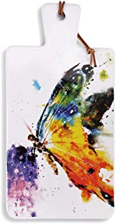 Dean Crouser Kaleidoscope Butterfly Watercolor 14 x 7 Ceramic Stoneware Carving Serving Board