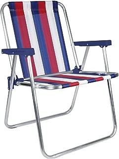 MOR Aluminum Beach Chair - 1 Position - (Pack of 1) - (Blue, White & Red Stripe)