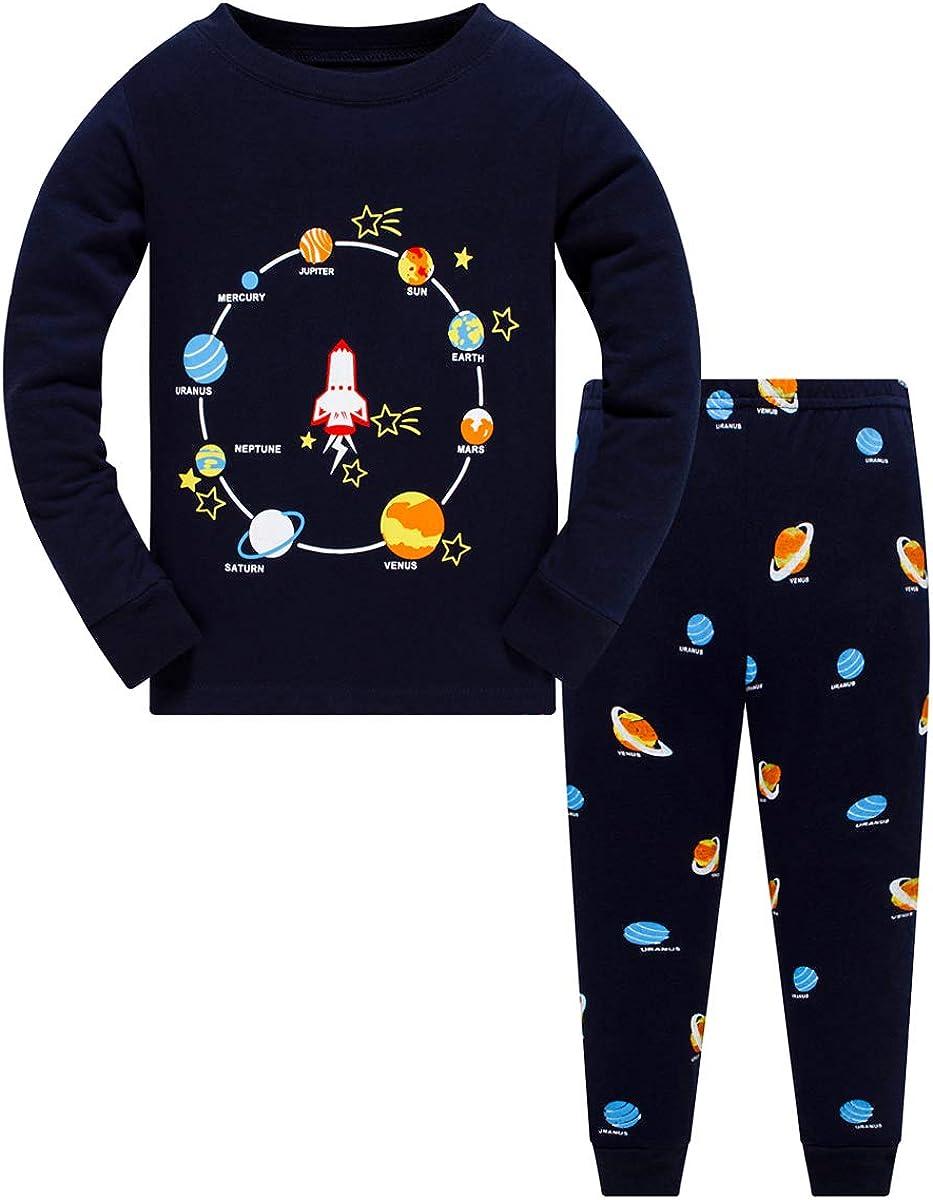 Boys Planet Pajamas Sets 100% Cotton Pjs Toddler 2 Piece Long Sleeve Sleepwear Kids Clothes Sets Dinosaur Shirts