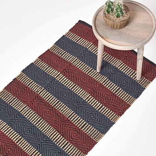 Homescapes Naturfaser Teppich Läufer 66 x 200 cm 100% Jute Küchen-Läufer rot blau beige...