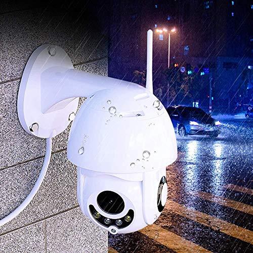Camaras De Vigilancia Cámara De Seguridad WiFi IP - 1080P Cámara Inalámbrica Ptz Impermeable Al Aire Libre con Visión Nocturna, Cámaras De Vigilancia Doméstica CCTV Blanco