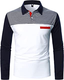 Long Sleeve Polo Shirts for Men Classic Slim Fit Button...