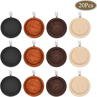 OBSEDE Wooden Pendant Trays Round Cabochon Bezels for Jewelry Findings Photo Pendant Cameo Settings Crafting Mixed 25mm 20Pcs