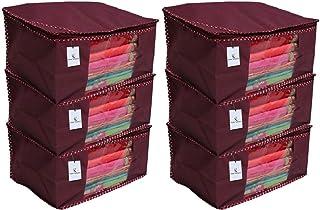 Kuber Industries™ Non Woven Saree Cover/Saree Bag/Storage Bag Set of 6 Pcs (Maroon) 90 GSM Fabric (Can Keep Upto 15 Sarees)