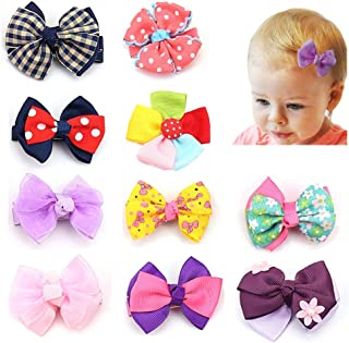 Gift Baby Clips,Little Girls Hair Bows Tie Barrettes Hair Accessories Cute Butterfly Headwear Babies Ribbon Lined Alligator Clips Multi-Colour Hairpin for Toddler Kids Children Birthday Gift 10 PCS