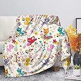 HUGS IDEA Manta de franela con diseño de gatos y mariposa, manta...